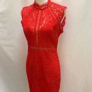 Bardot red lace party cocktail prom dress Sz 8 Med